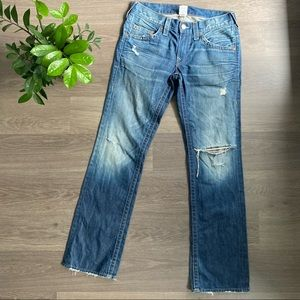 """True Religion """"Bobby"""" Blue Straight Jeans with Distressing"""